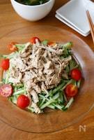 『茹で鶏の胡麻だれ和えサラダ』#ヘルシー#ご飯に合う