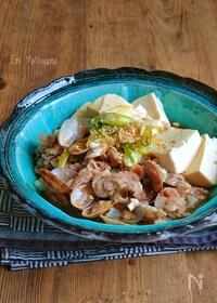 『レンジで簡単!旨味凝縮!あさり入り豚肉豆腐』