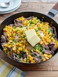牛肉とコーンのペッパーライス。ガーリック&バター醤油味!
