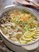 山盛りキャベツと水餃子のレモン鍋
