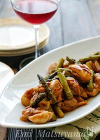 『*鶏もも肉とアスパラのバルサミコ炒め*』