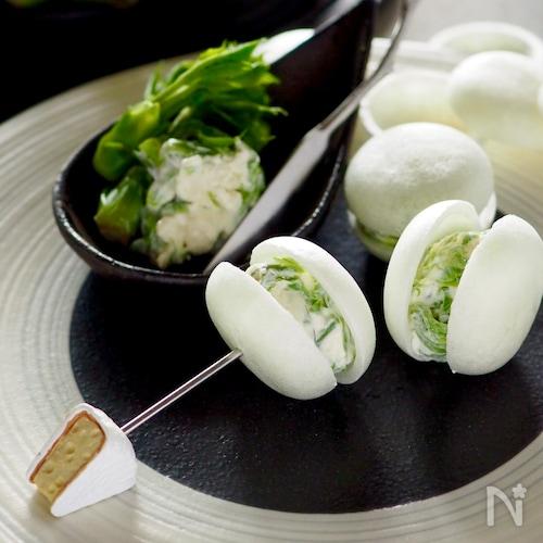 【簡単おもてなし】山菜クリームチーズマカロンふう