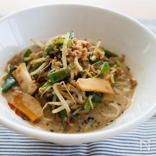 『黒ごま豆乳担々麺』#野菜たっぷり#ピリ辛