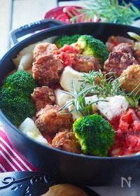 『【豚ひき肉100g】ミートボールと白菜のトマトチーズ煮込み』