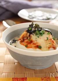 『レンジで作れる!キムチーズの豆腐豆乳スープ。』