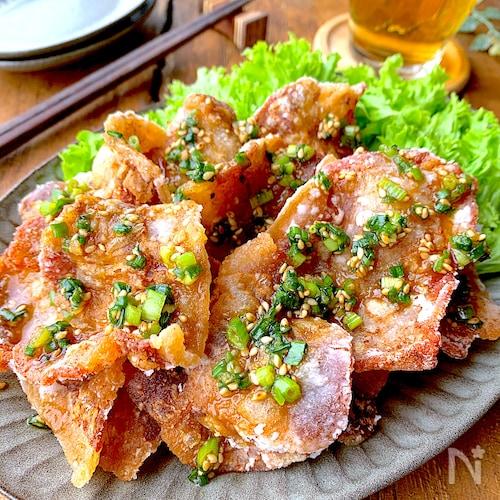 【おうち居酒屋】パリッカリッ‼︎豚からのネギごまソースがけ