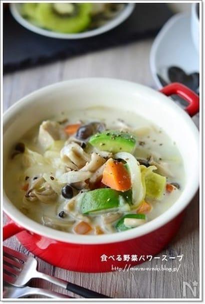 アボカドときのこのスープ鍋