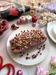 ルビーチョコとザクロをまとったキラキラバナナチョコケーキ