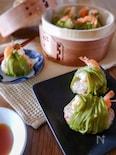 海老肉団子の茶そば焼売