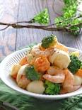 むき海老とブロッコリーとゆで卵のスイチリレモンマヨサラダ