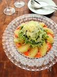 豆苗とサーモンのサラダ グレープフルーツドレッシング仕立て