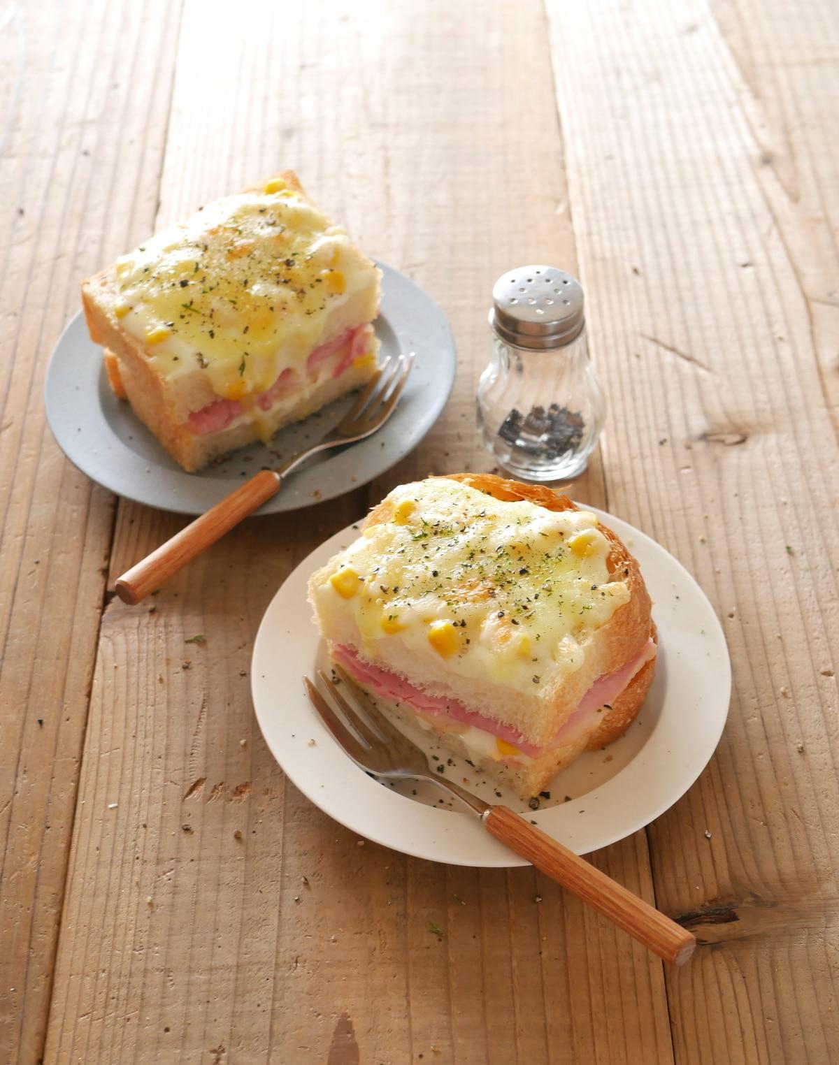 トースターで簡単!コーン風味のクロックムッシュ