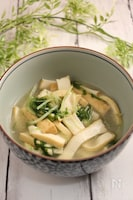 水菜と厚揚げの白だし生姜煮