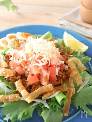 大豆ミートのタコス風サラダ