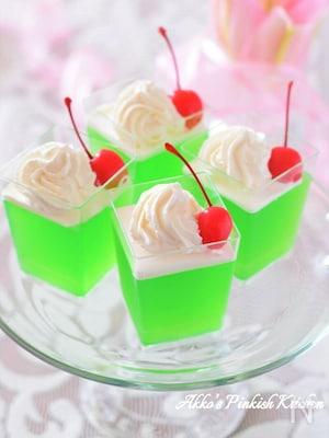 超簡単♡クリームソーダ風ゼリー♪夏のホムパはコレです!