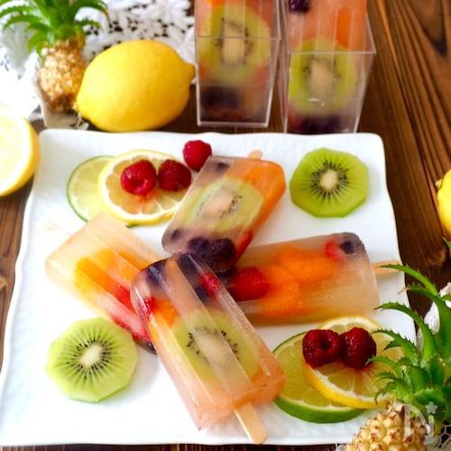 りんごジュースで簡単!フルーツアイスバー
