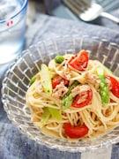 アスパラとトマトの冷製♡ツナポンパスタ【#簡単 #ワンボル】