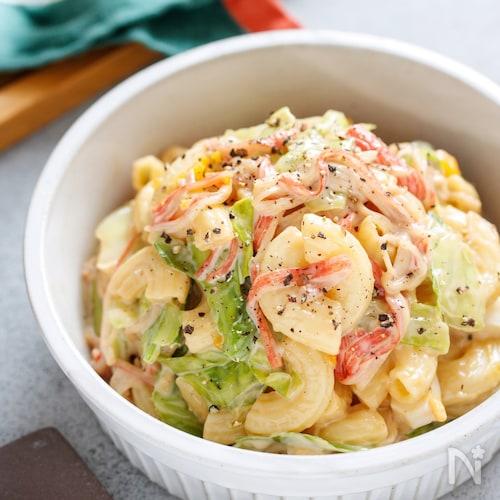 かに玉とキャベツのマカロニサラダ【#作り置き #包丁不要】