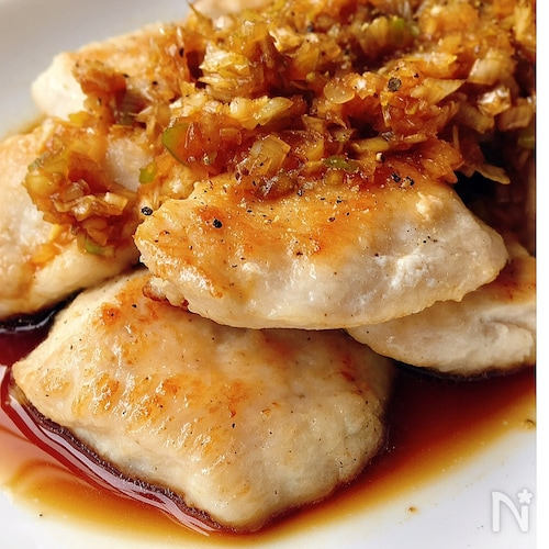 風邪予防✧鶏むねとたっぷりネギの甘酢ソースかけ
