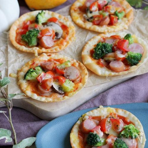 簡単!餃子の皮のカラフルミニピザ