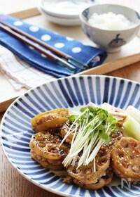 『【ヘルシーおかず】豆腐入りれんこんのはさみ焼き』