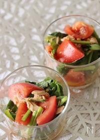 『困った時にもう1品♪小松菜、トマト、ツナのサラダ』
