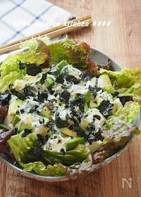 『簡単!アボカドと豆腐のしらす海苔サラダ』