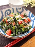 レンチン♪栄養たっぷり♡モロヘイヤとしらすとトマトのサラダ