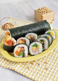 『菜の花の巻き寿司*サラダとキンパのハーフ&ハーフ#節分に』