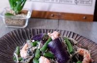 海老と茄子・エノキの黒ごま酢和え