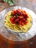 大葉香る♪タコとトマトの冷製パスタ