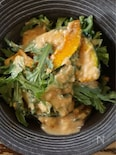 カロテン補給に、かぼちゃと春菊の酢みそサラダ
