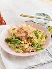 かつおぶしで!うま味だしがジワル♪豚肉と野菜の卵とじ炒め*