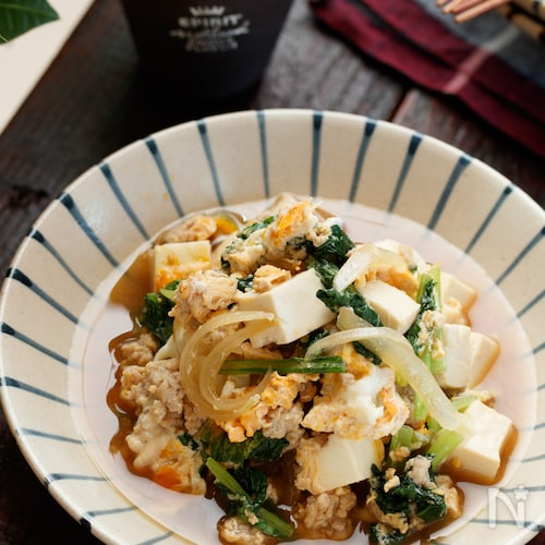 豆腐と玉ねぎのふわとろ卵とじ(親子煮)【#簡単#ヘルシー】