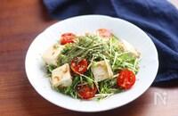 簡単♪水菜と雑魚と豆腐のサラダ