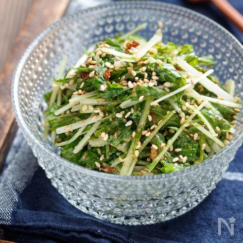 ふりふり♪無限♡水菜のごまおかかナムル【#作り置き】