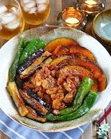 豚こま肉&なす&かぼちゃの甘辛コチュ揚げ焼き浸し