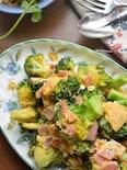 蒸し焼き2分♡マヨで炒める♡ブロッコリーとベーコンの卵炒め♡
