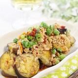 アジアン風、ナスと鶏ひき肉炒め