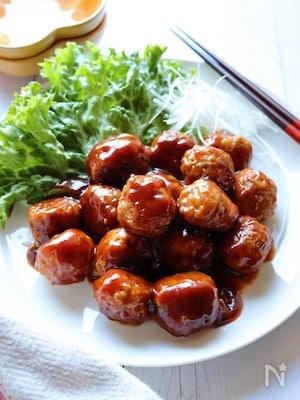 豆腐でヘルシー*肉団子の甘酢あん