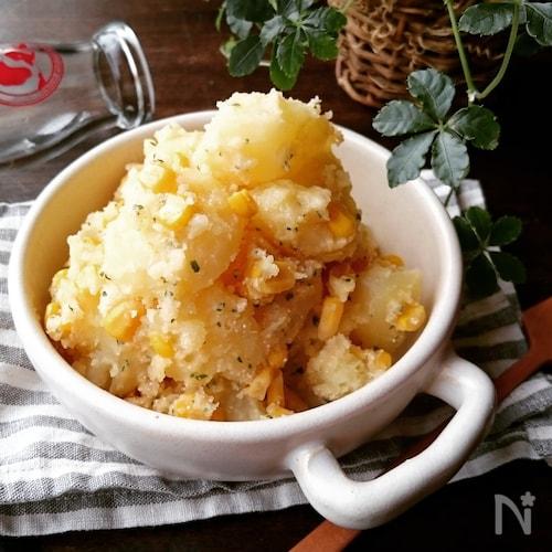 じゃが芋ととうもろこしのたらこ燻製バター和え♪