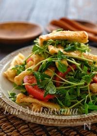 『調味料全て大さじ1*カリカリ油揚げと豆苗とトマトのサラダ*』