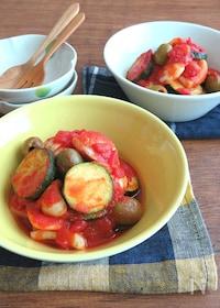 『おうちで簡単イタリアン♪いかとズッキーニのトマトオリーブ煮』
