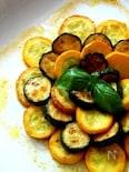 緑と黄色ズッキーニのカレー風味マリネ
