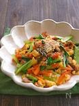 にんじんと小松菜と豚こまの甘辛卵炒め