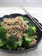 オイル蒸しブロッコリーの肉ドレかけ。