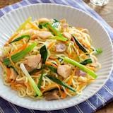 焼きとりの塩焼きそば。あっさり美味しく簡単!ランチや夕食に。