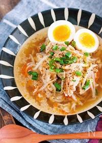 『包丁いらず♪『豚バラもやしの醤油ラーメン風♡おかずスープ』』