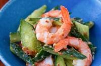 和洋中何にでも合う♪海老ときゅうりの味噌マヨマスタードサラダ