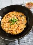 大和芋でふわふわ〜*キャベツとニラの和風お好み焼き